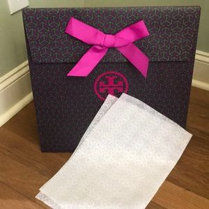 Tory Burch gift bag with ribbon and tissue